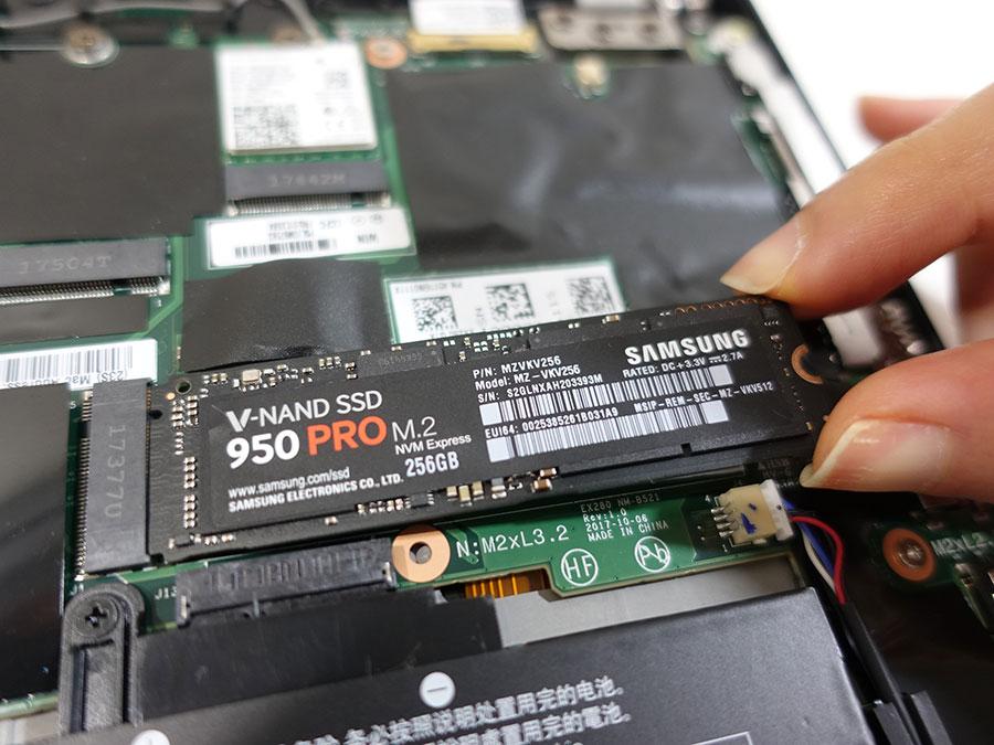 X280に サムスン 950 Pro PCIe NVMe SSDを装着