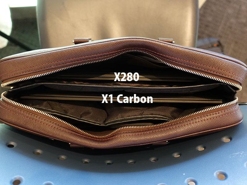X280 X1 Carbon カバンに入れても多少余裕がある