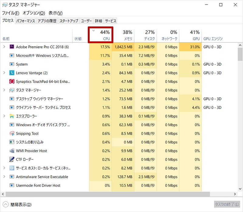 CPU使用率をタスクマネージャーから確認