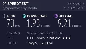 OCNモバイルOne 速度