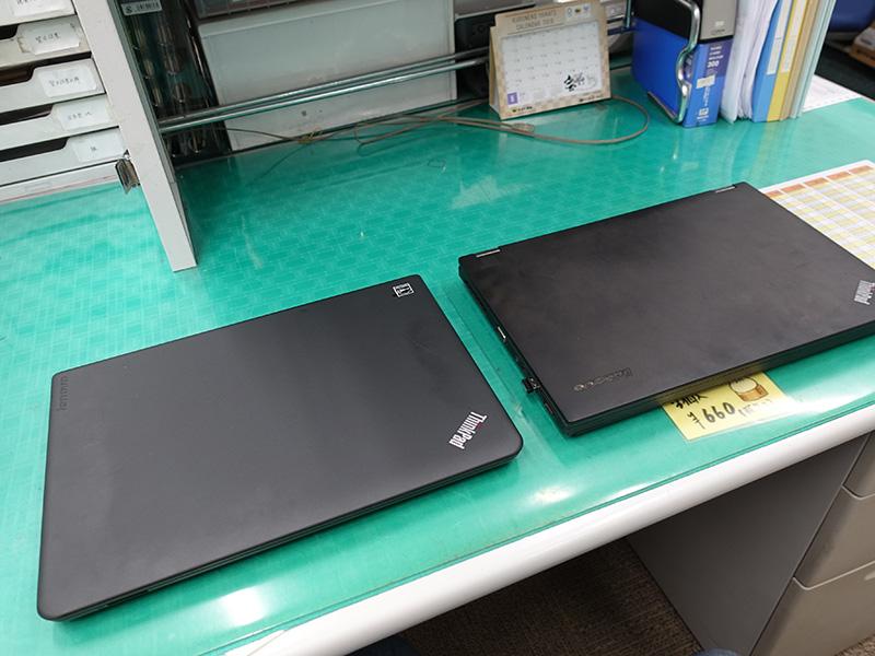 ThinkPad E450とT440p 閉じた状態
