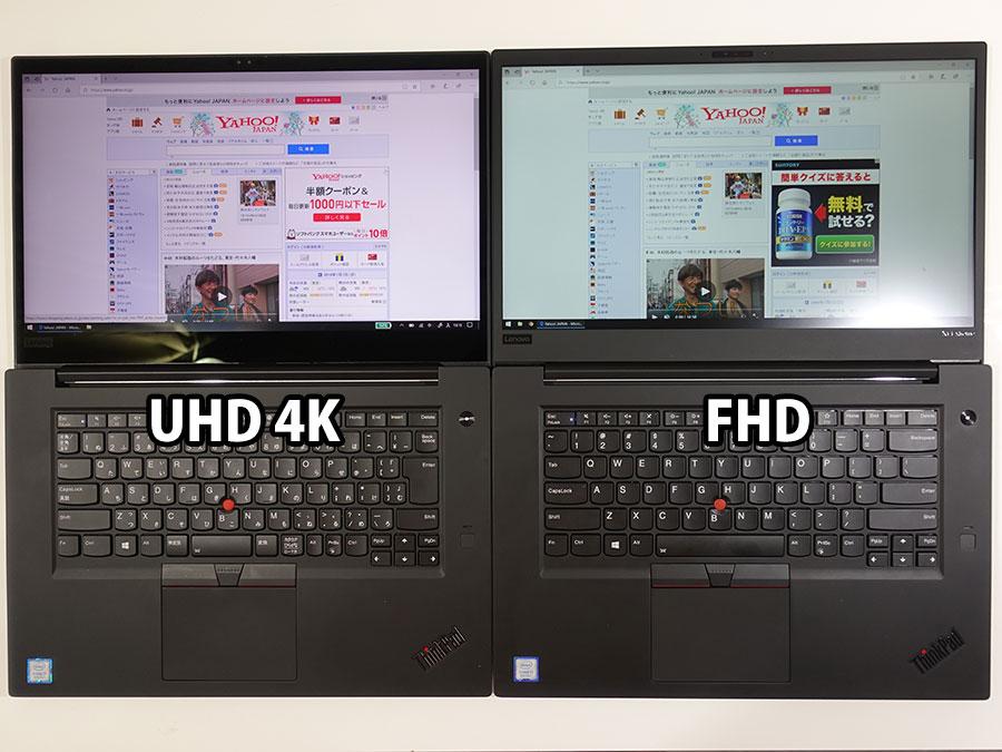 4K UHD vs FHD デフォルトは表示範囲が変わらない
