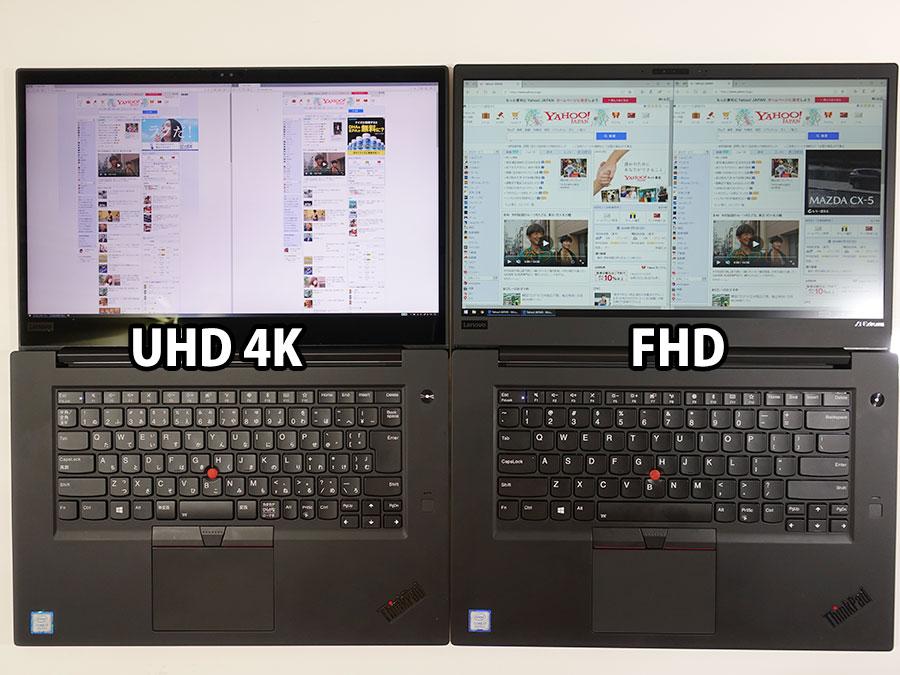 4K UHD vs FHD ドットバイドット 100%表示にしてヤフートップページを開いてみる